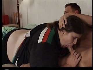 Mature obese broad gets fucked in tiny bed