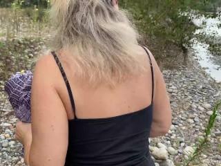 'Big tit blonde wife sucks and fucks her man outdoors'