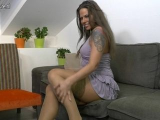 Naughty British Mom Playing On The Couch - MatureNL