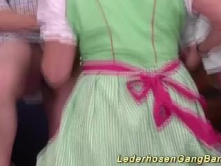 Uninhibited german lederhosen lady-love orgy