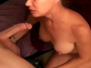 Elder damsel enjoys deep throating shaft
