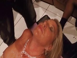 Three BBC trash my wifes faces with cum