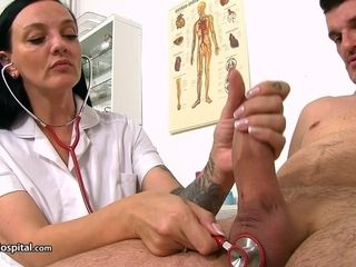 Red-hot mature nurse Mona examinations large dinky of successful dude