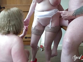 AgedLove Lily May and Trisha in rock hard 3some with boyfrien