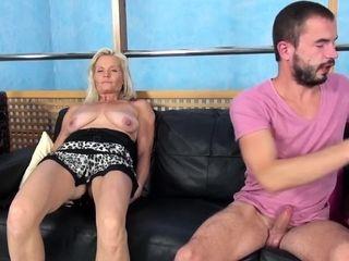 Mature Italian blonde fucks her casting agent