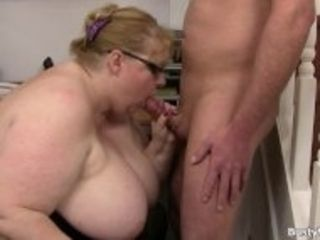 """""""Huge boobs lady boss with glasses rides his cock"""""""