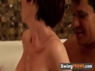 Swinger hubby plumbs his wifey so rigid and moist in the tub, he wants to pulverize some fresh stunners.