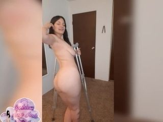 'Sexy girl on crutches masturbates and spreads for you - Episode 2 with bound ankles'