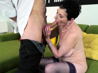 Grandma in tights inhales