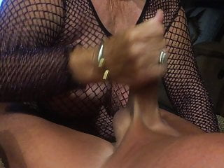 Grandmother in a fishnet give a oral pleasure