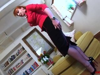 Brit mature crimson hard-core relaxes some pressure after work