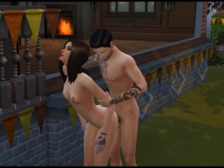Fucking my secretary, a sexy brunette at work and outdoors  Sims
