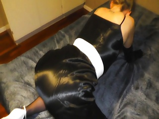 Luxurious glamour wife fucked in satin dressgown