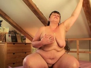 Chubby mature fatty rides young stranger's dick