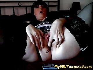 My cougar unveiled good-sized wifey in super-sexy dark-hued pantyhose masturbat