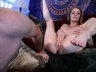 Mature duo Garter butt eat internal cumshot