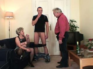 Cock-hungry granny enjoys two dicks