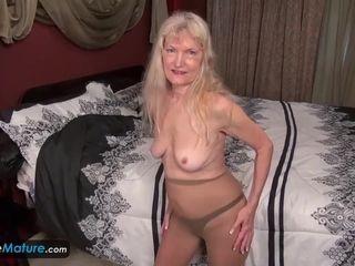 Slender grannie In tights