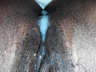 Internal ejaculation cascading out of wife's beaver