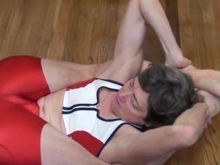 Grandmother in scorching crimson Spandex- Mature soles
