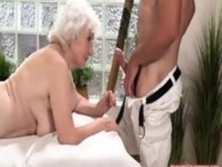 Huge-titted grannie likes a ginormous firm beef whistle in her muff