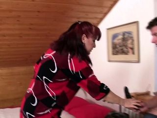 Highly red-hot mommy in pantyhose frolicking before taboo fuck-fest