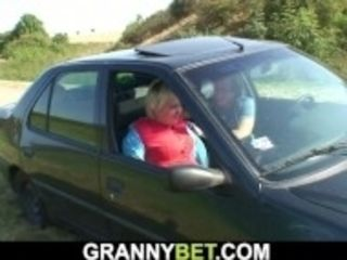 """""""Very old blonde grandma gives head in the car"""""""