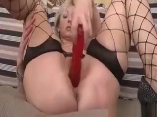 Light-haired superslut drills Her Mature mischievous honeypot With faux-cock