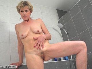 My slender grannie flashes Her thin figure