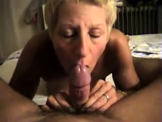 Super-steamy blond mature gives a good point of view oral job