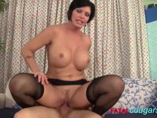 Mature Brunette In Stockings