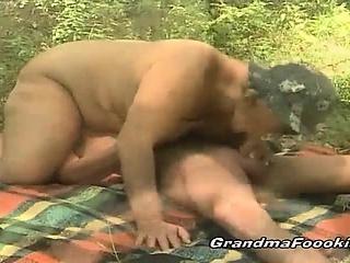 Fat granny rides dick