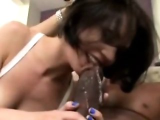 Perv watches wife sucking black mans big black cock