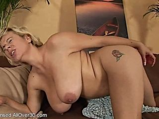 Mom dame with monstrous breasts in solo activity