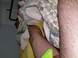 Huge cumshot on my wifes green nylon feet