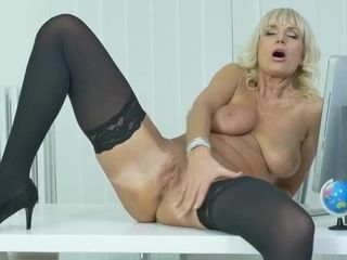 Blonde Office Lady, Roxana Is Often Masturbating While At Work, Because It Feels Better Than At Home