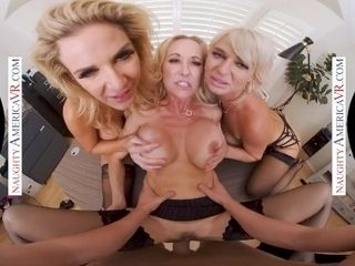 'Naughty America - Three hot MILFS suck and fuck a big cock in VR!'