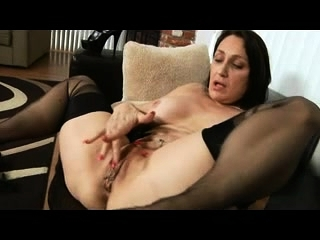 Plump dark-haired large bumpers fake penis getting off