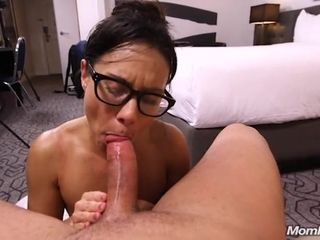 36-year-old mommy in gorgeous glasses makes her first-ever pornography