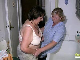 OldNannY grasping grandma While Taking a tub