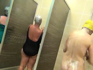 housewives soaping in a public shower