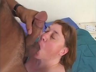 The elderly at dame deep throats firm while she kneads her honeypot
