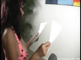 Busty Brunette With Glasses Plays With Dick