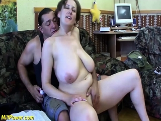 Huge-boobed round cougar very first time assfucking drilled