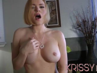 Krissy Lynn strips and fucks herself with Glass Dildos