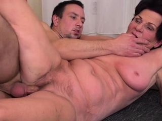 Horny grandmother blowing and plumbing