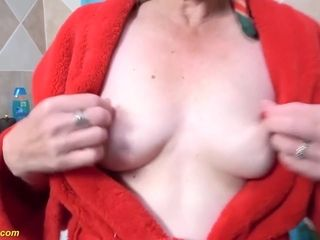 Ugly Granny Takes A Hot Shower