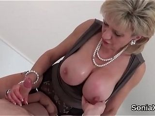 Adulterous brit mature chick sonia shoots a load out her gigantic bra-stuffers
