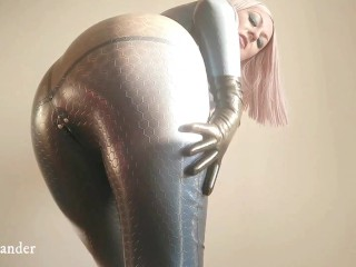 Latex Rubber Fetish Catsuit Homemade Video of Curvy Girl In Texturized Fetisch clothes