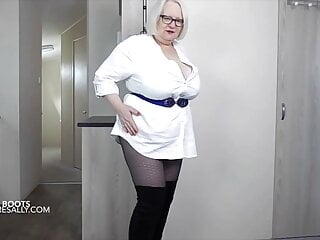Sally in thigh high boots and pantyhose